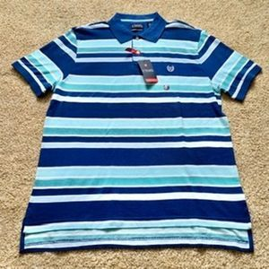 Chaps men Large Blue striped polo shirt